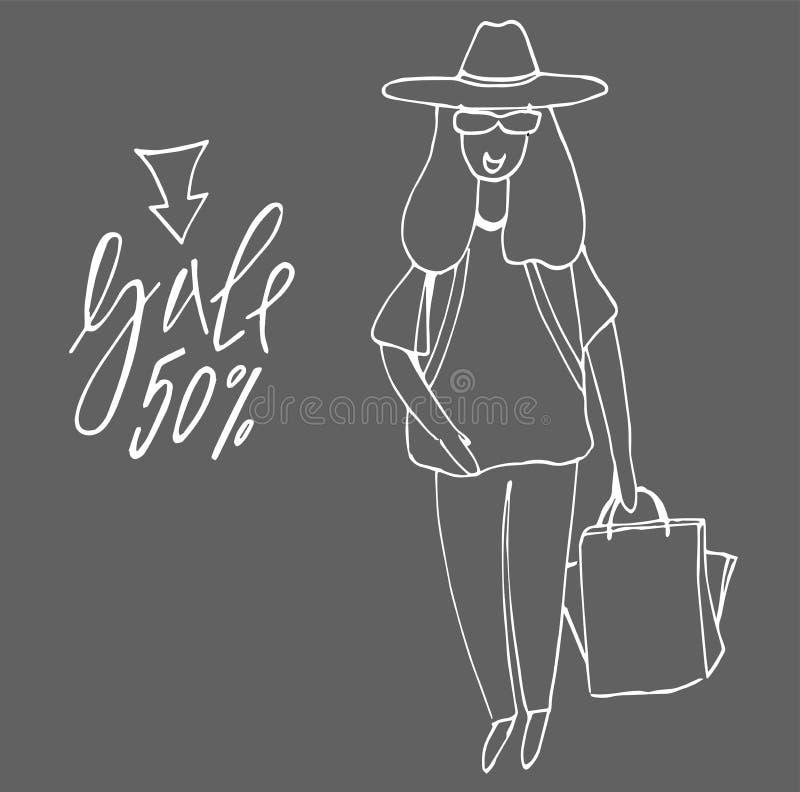 wielki dziewczyna zakupy young wielka wyprzeda? nabywcy torba na zakupy i dziewczyna ilustracja wektor