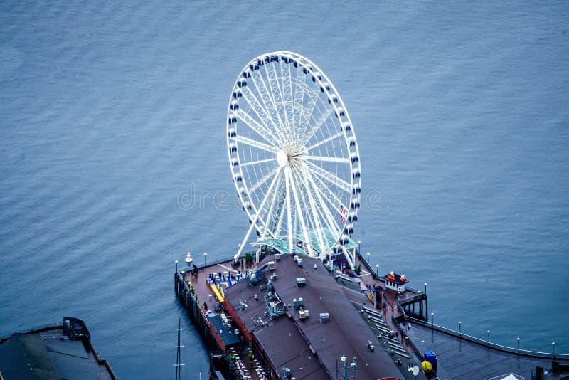 Wielki Ferris koło Puget Sound Seattle Waszyngton fotografia royalty free