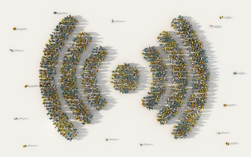 Wielki grupa ludzi tworzy radiowego sygnału symbol w ogólnospołecznych środkach i społeczności pojęcie na białym tle 3d znak tłum ilustracji
