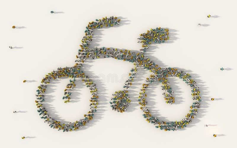 Wielki grupa ludzi tworzy symbol w ogólnospołecznych środkach, społeczności pojęcie na białym tle i 3d znak tłum ilustracja wektor