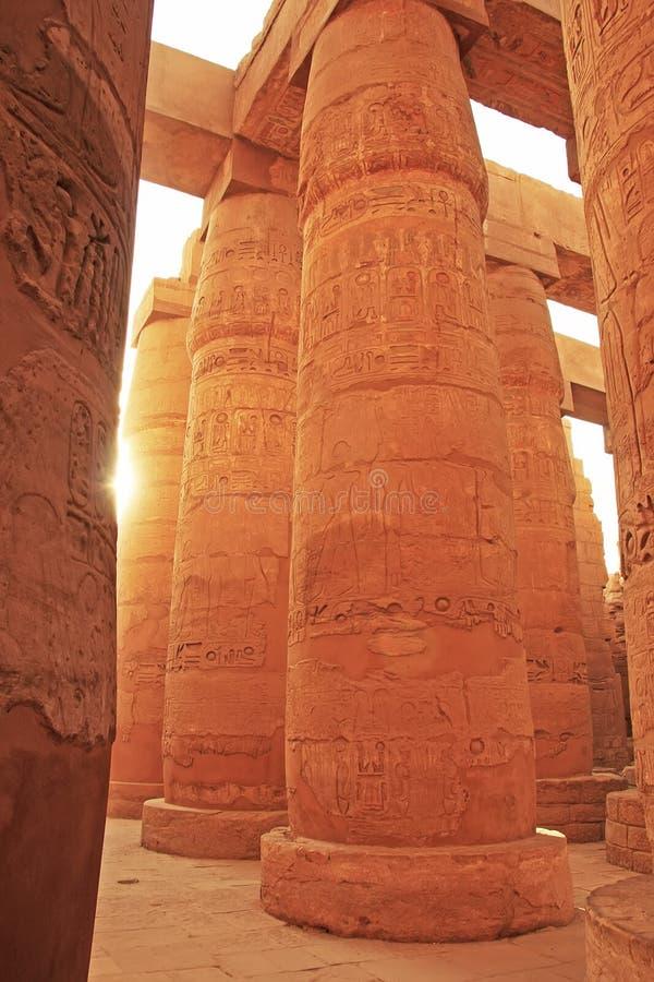 Wielki hipostyl Hall, Karnak świątynny kompleks, Luxor zdjęcia stock