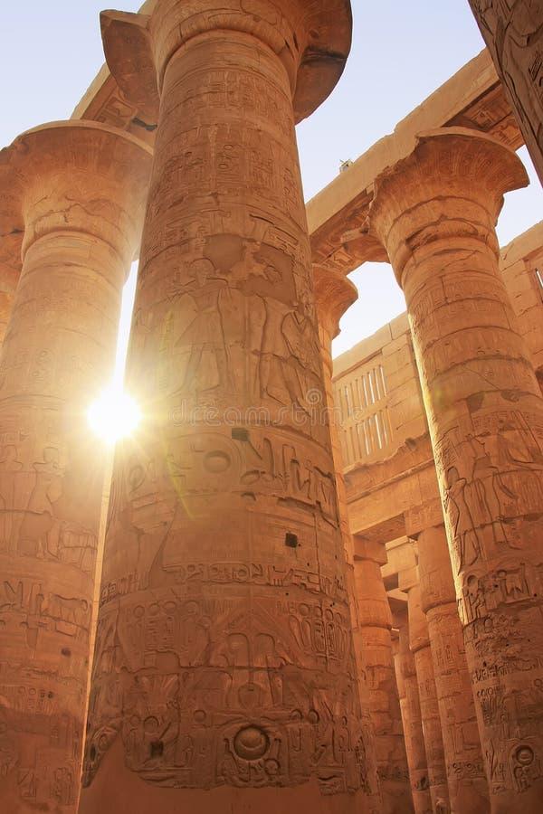 Wielki hipostyl Hall, Karnak świątynny kompleks, Luxor obrazy stock