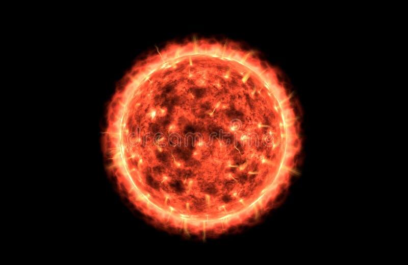Wielki i Rozjarzony Czerwony słońce z Tylnym tłem royalty ilustracja