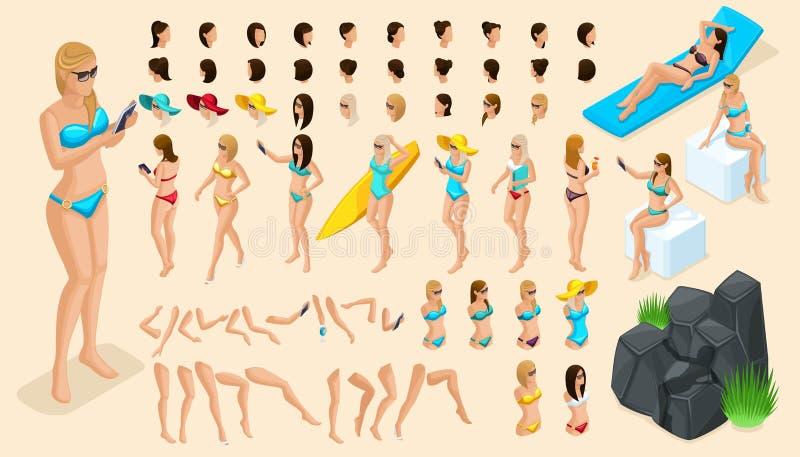Wielki isometric set gesty ręki i cieki 3d dziewczyny Tworzy twój charakteru być na wakacjach turysty, dziewczyna w swimsuit ilustracji