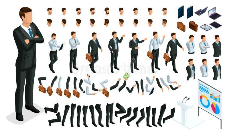 Wielki isometric set gesty ręki i cieki mężczyźni, 3D charakteru biznesmen Tworzy twój swój isometric urzędnika royalty ilustracja