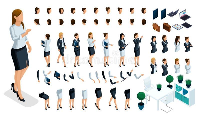 Wielki isometric set ręka i nożni gesty kobieta, tworzyć 3D damy biznesowego charakteru Tworzy twój isometric osoby ilustracji