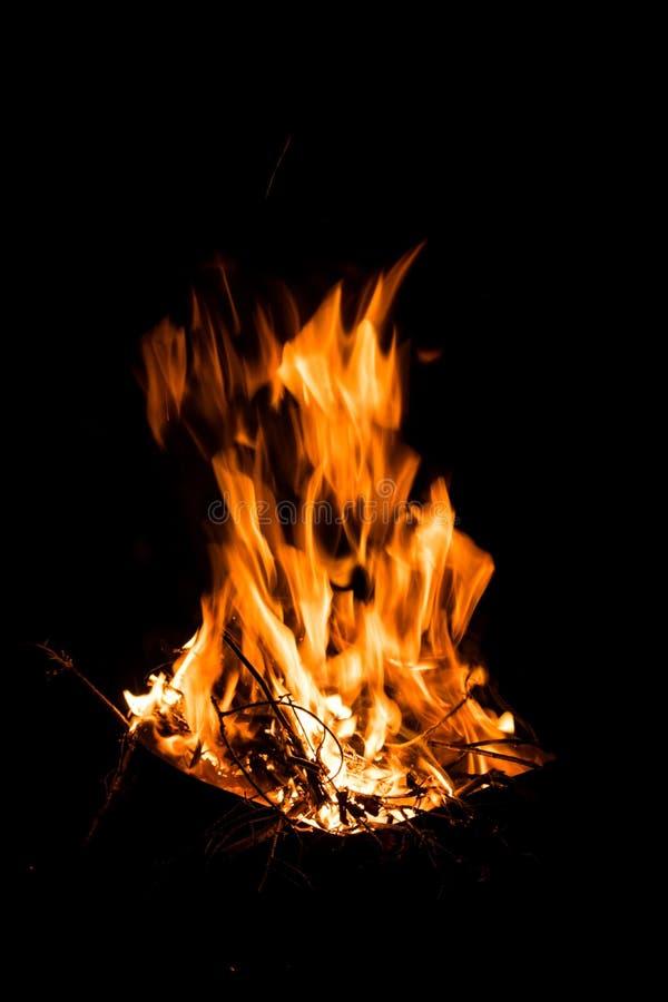 Wielki jaskrawy płomień ogień Płonąca łupka w ogieniu przy nocą tekstura ogień i płomień, zdjęcie stock