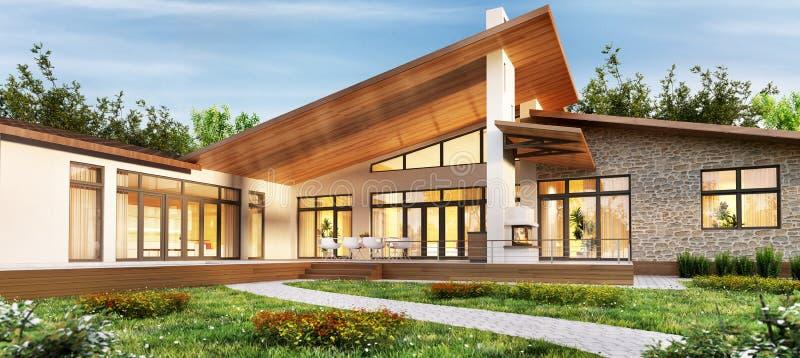 Wielki jednopiętrowy dom z tarasu i grilla terenem ilustracja wektor