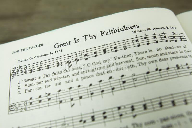 Wielki jest Thomas Chisholm Thy wierność cześć Chrześcijański hymn zdjęcia royalty free