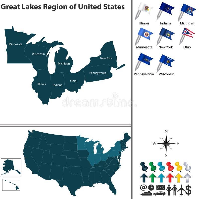 Wielki jezioro region Stany Zjednoczone ilustracja wektor