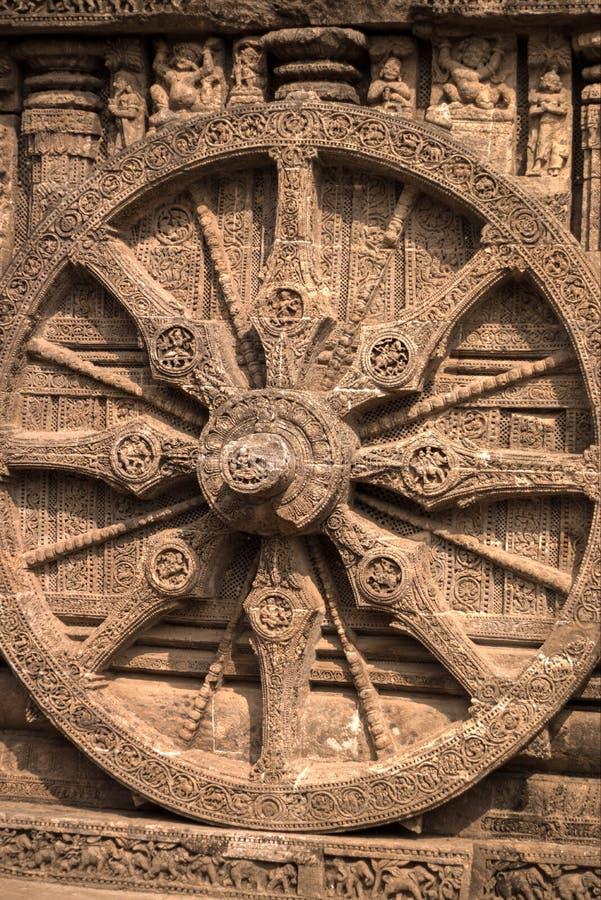 Wielki koło Konark słońca świątynia zdjęcia royalty free