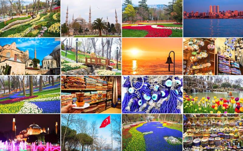 Wielki kolaż punkty zwrotni i krajobrazy Istanbuł i niedalekie wyspy Wiosna czas rok, kwitnie parki, bazar, port zdjęcie stock