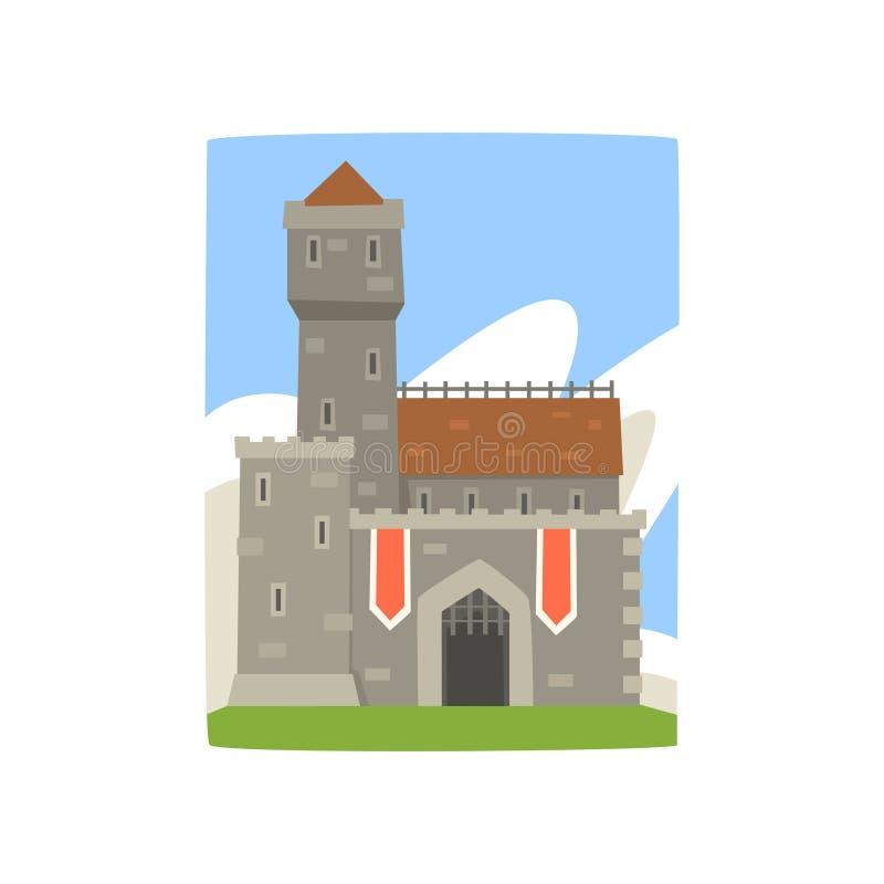 Wielki królewski forteca z wierza, czerwonymi flaga i żelaznym gretingiem na wejściu, Krajobraz z średniowiecznym kasztelem, chmu royalty ilustracja