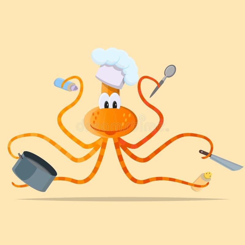Wielki kreskówki kałamarnicy kucharz ilustracja wektor