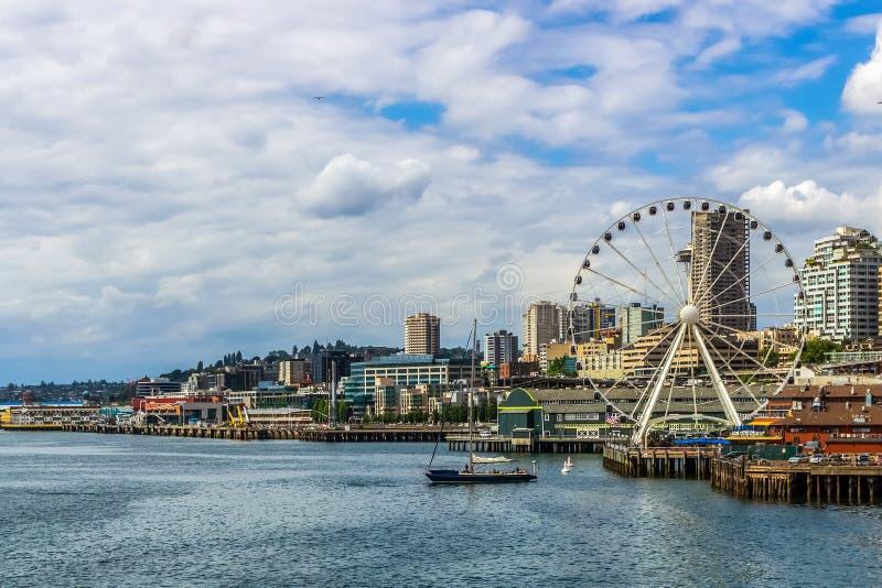 Wielki lub Ferris koło i nabrzeże Seattle zdjęcie royalty free