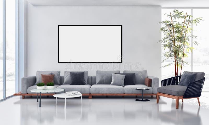 wielki luksusowy nowożytny jaskrawy wnętrza mieszkanie z egzaminem próbnym up wysyła ilustracja wektor