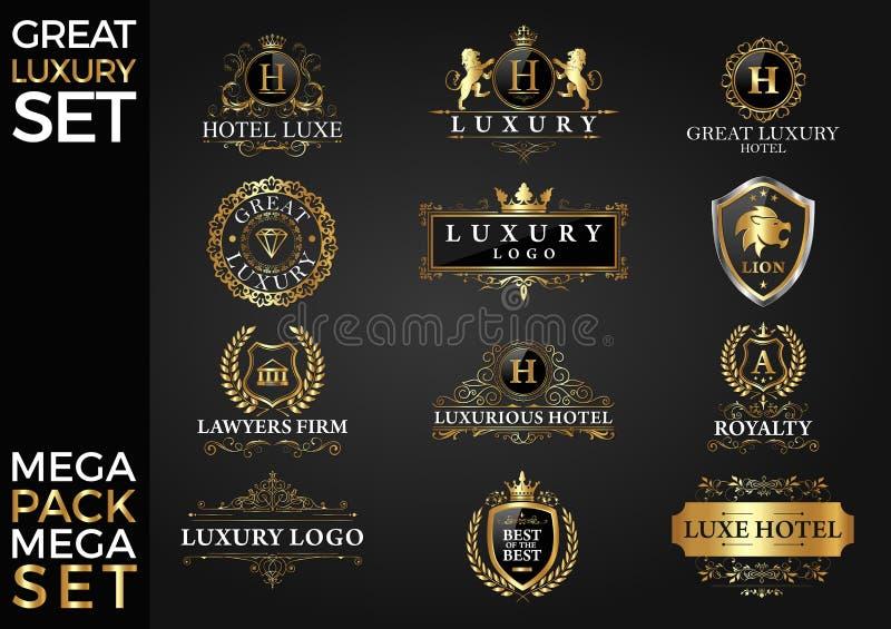 Wielki luksusu setu, Królewskiego i Eleganckiego loga szablonu Wektorowy projekt, ilustracji