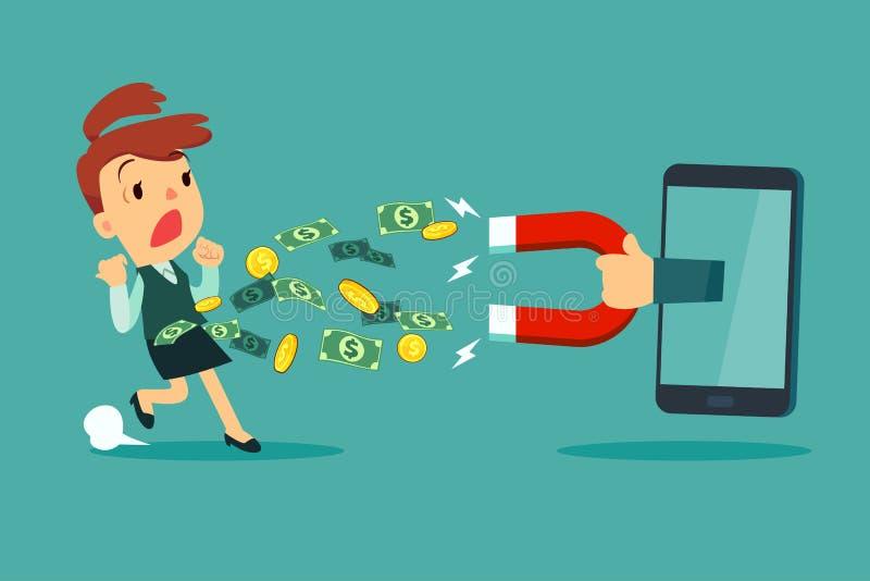 Wielki magnes od mądrze telefonu ekranu przyciąga pieniądze od busine ilustracja wektor