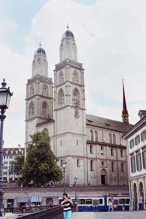 Wielki ministra kościół w Zurich obraz stock
