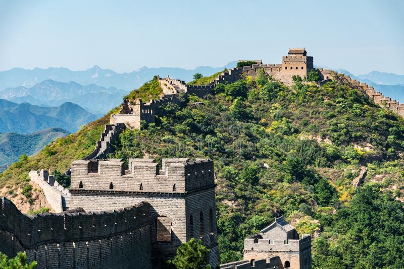 Wielki Mur Chiny między Jinshanling i Simatai obraz royalty free