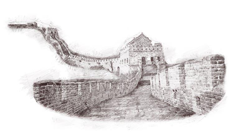 Wielki mur Chiny w nakreślenie stylu Ilustracja, ręka rysująca, nakreślenie odizolowywający na bielu Akwareli chiński dziejowy sh