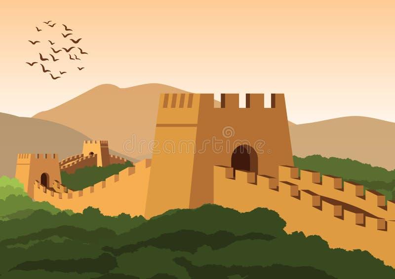 Wielki mur, sławny punkt zwrotny i dziedzictwo świat porcelana i, rocznika kolor royalty ilustracja