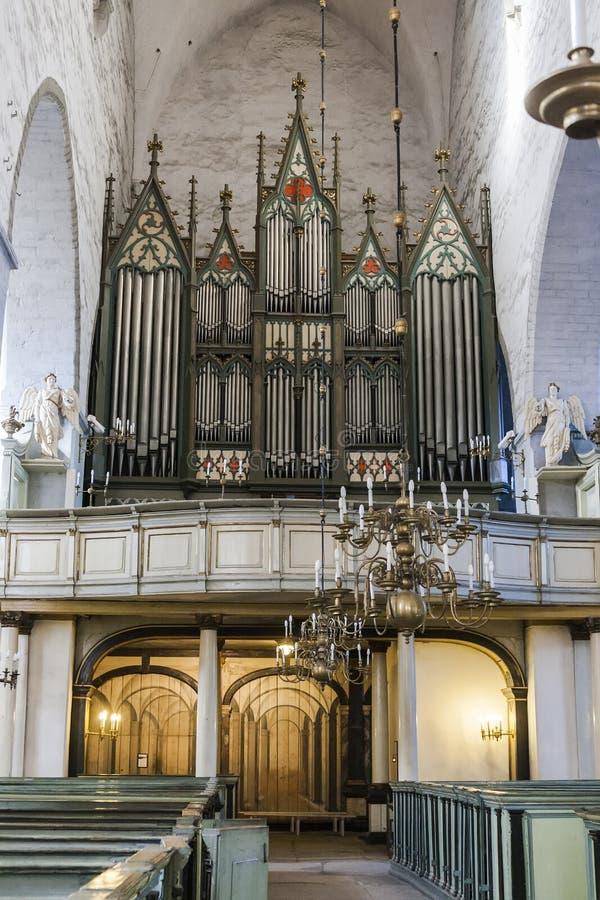 Wielki muzykalny organ w Tallinn kopuły katedrze zdjęcie stock