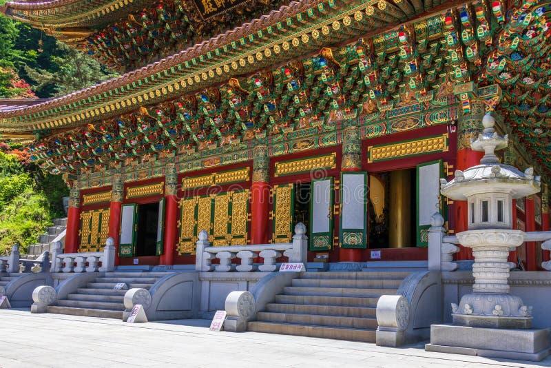 Wielki nauczyciel Hall Daejosajeon Koreańska Buddyjska świątynia Komplex Guinsa na jasnym dniu Guinsa, Danyan region, korea połud zdjęcie stock