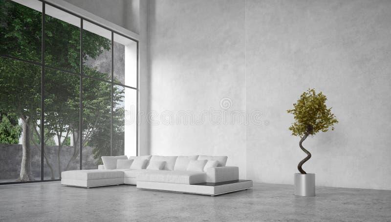 Wielki nowożytny żywy pokój przegapia drzewa royalty ilustracja