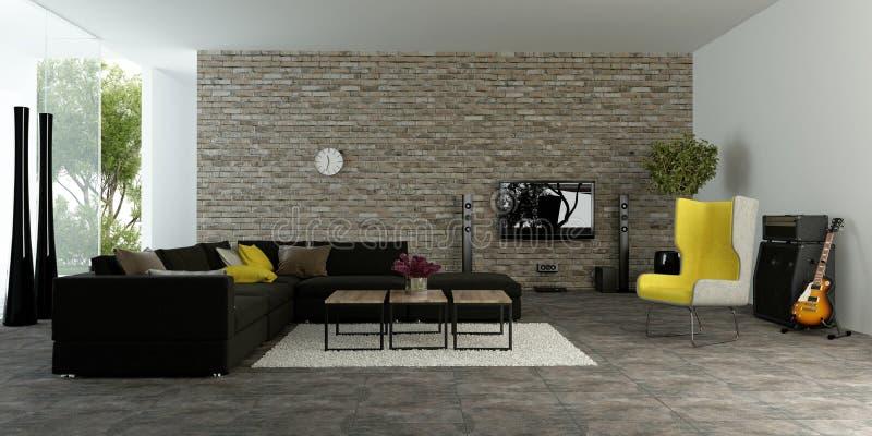 Wielki nowożytny żywy pokój z textured akcent ścianą obrazy royalty free