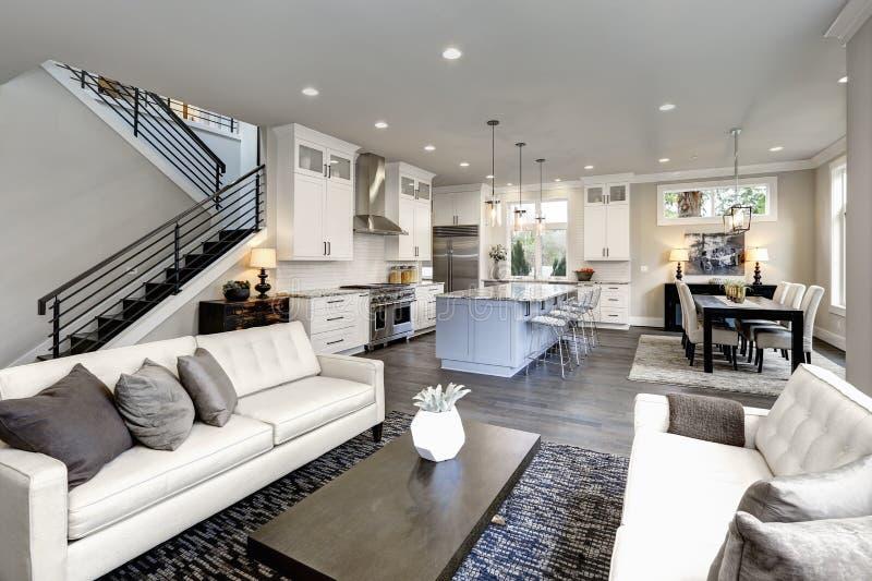 Wielki nowożytny luksusowy żywy izbowy wnętrze w Bellevue domu zdjęcie royalty free