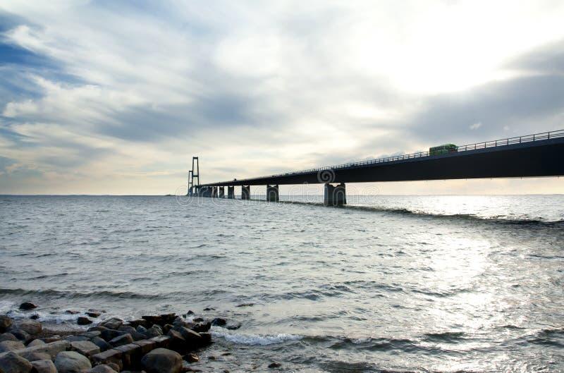 Wielki paska most, Storebelt w Dani, łączy Zealand z Funen zdjęcia royalty free