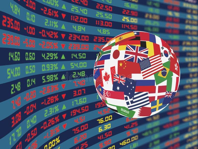 Wielki pokaz Dzienna rynek papierów wartościowych cena, ceduły i ilustracja wektor
