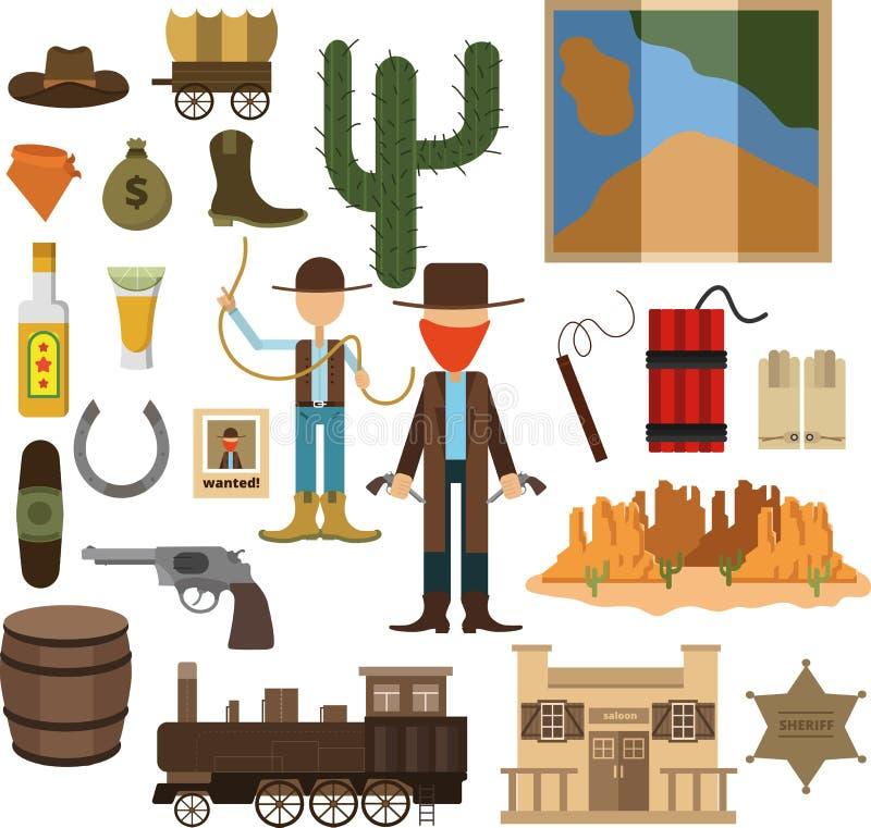 Wielki projektujący set dziki zachód ilustracja wektor