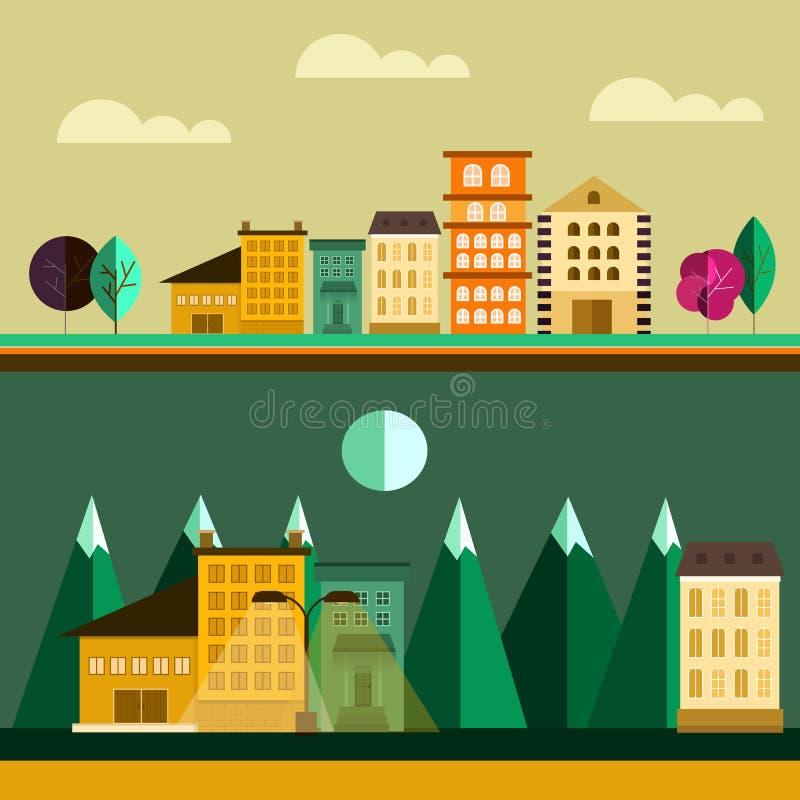 Wielki projektujący set miasteczko ilustracja wektor