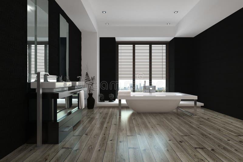 Wielki przestronny czarny i biały łazienki wnętrze obrazy royalty free