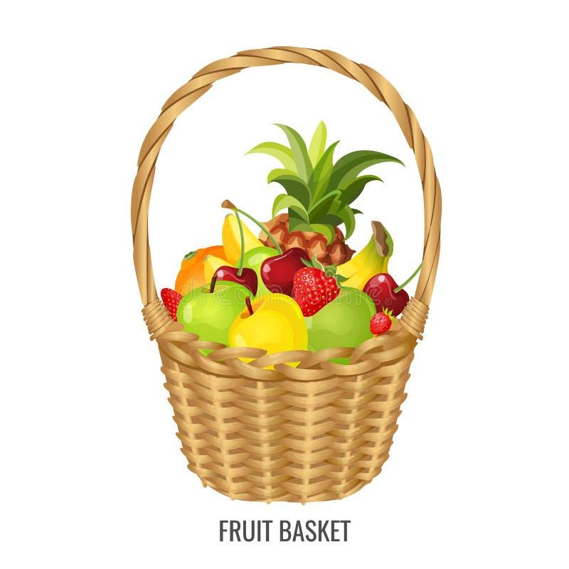 Wielki słomiany łozinowy kosz z egzotycznymi i tropikalnymi owoc plakatowymi royalty ilustracja