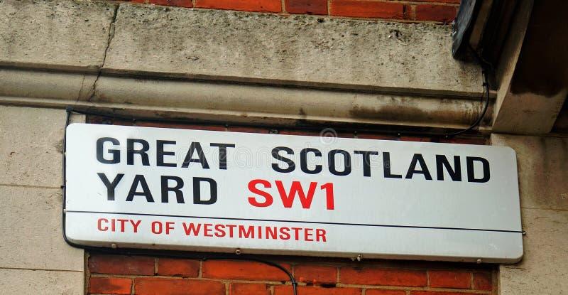 Wielki Scotland Yard drogi imię, Westminister, SW1 Anglia, 2018 obrazy stock