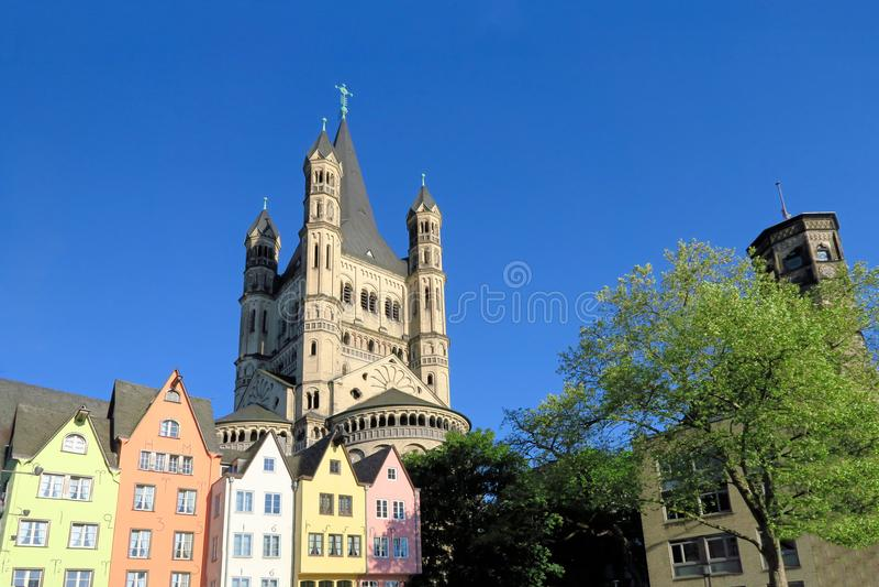 Wielki St Martin kościół w Kolonia, Niemcy obraz royalty free