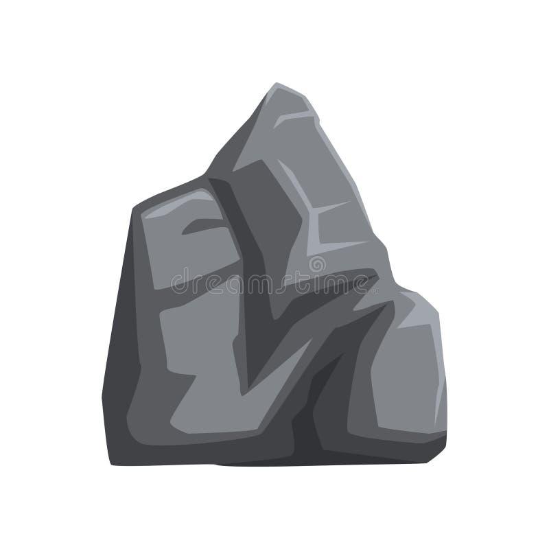 Wielki szarość kamień z światłami i cieniami Stała góry skała Wektorowy element dla mapy lub krajobrazu tła wisząca ozdoba royalty ilustracja
