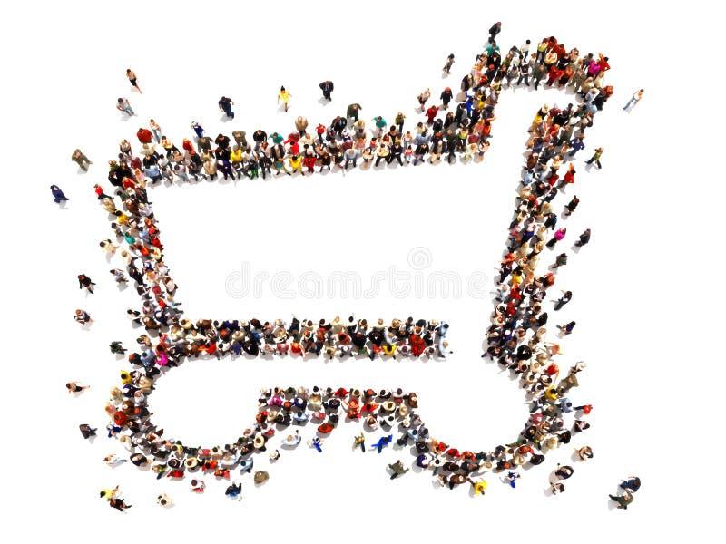 Wielki tłum ludzie tworzy symbol wózek na zakupy Wszechstronny pojęcie z pokojem dla teksta lub kopii astronautycznej reklamy royalty ilustracja