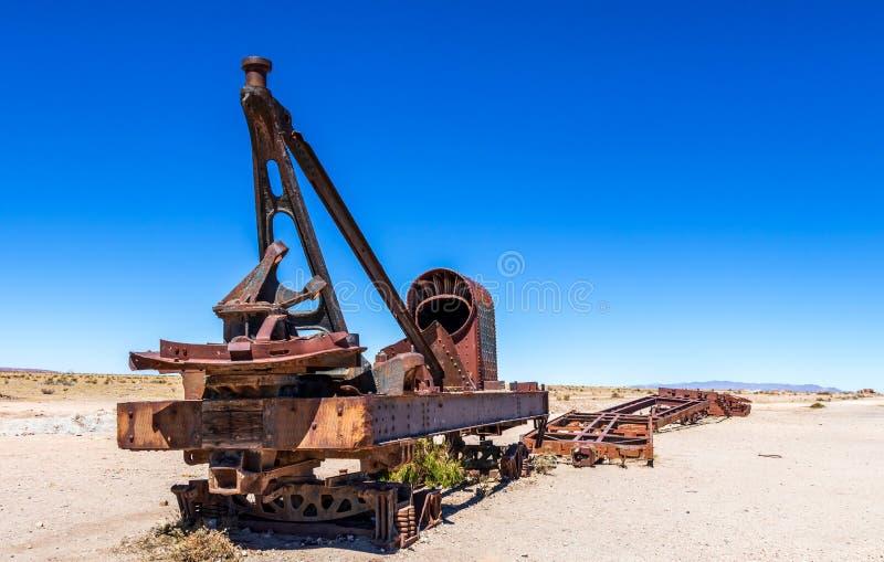 Wielki Taborowy cmentarz lub parowe lokomotywy cmentarniani przy Uyuni, Boliwia zdjęcia royalty free