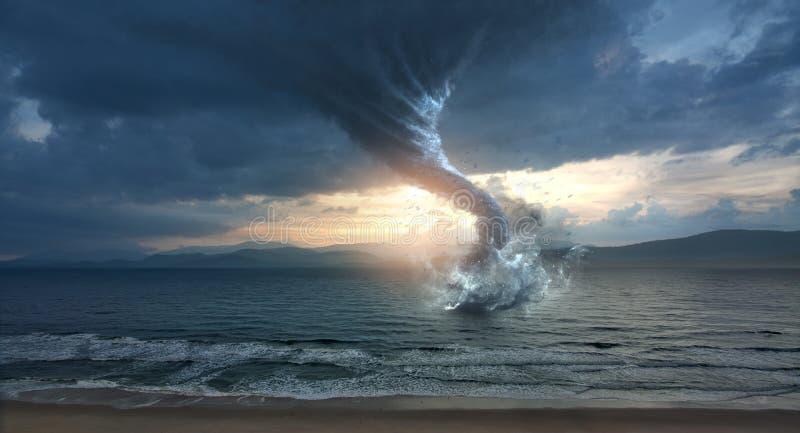 Wielki tornado nad wodą ilustracji