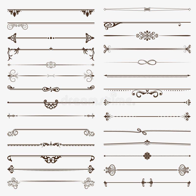 Wielki ustawiający dividers Wektorowi kaligraficzni projektów elementy i strony dekoracja ilustracja wektor
