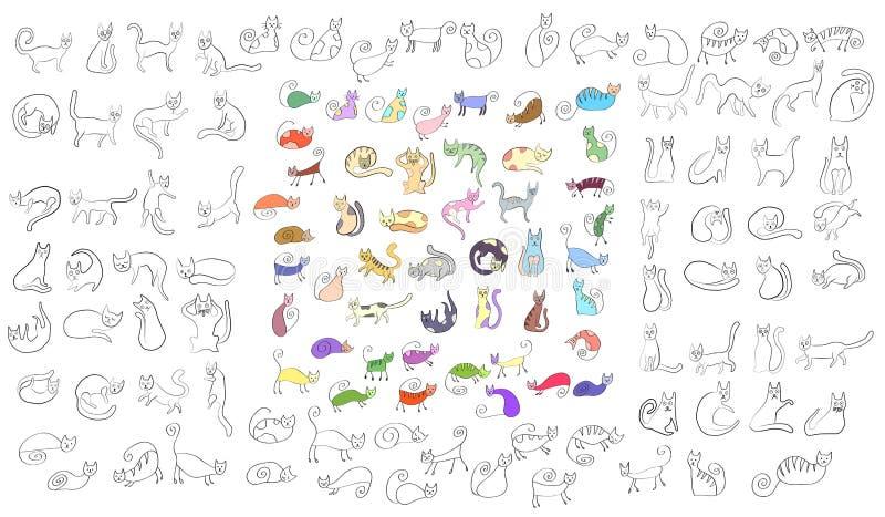 Wielki ustawiający dziwni śmieszni barwioni praforma stylu koty Doodle stylowe ikony ilustracji