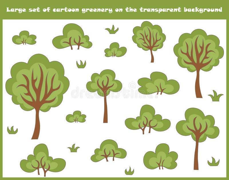 Wielki ustawiający kreskówek drzewa, krzaki i trawa odizolowywający na przejrzystym tle, royalty ilustracja