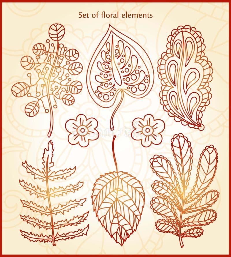 Wielki ustawiający kwieciści elementy, rysunek elementu dekoracyjny rocznik Delikatni kwieciści elementy dla kartka z pozdrowieni ilustracja wektor