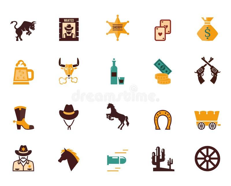 Wielki ustawiający Zachodnie płaskie wektorowe ikony ilustracji