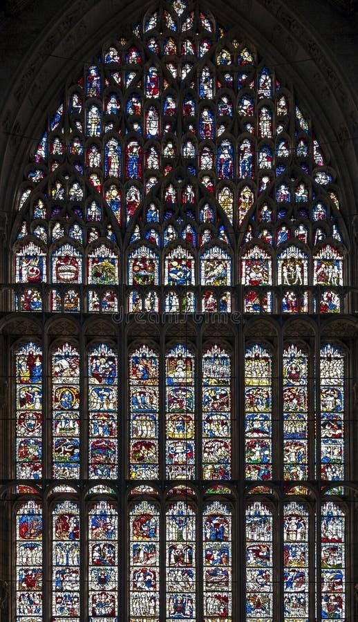Wielki Wschodni okno, wielka rozległość średniowieczny witraż w Zjednoczone Królestwo przy east end Jork minister, UK zdjęcia royalty free