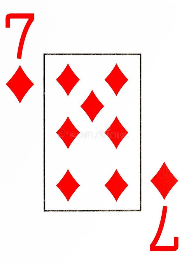 Wielki wskaźnika karta do gry 7 diamenty obraz royalty free